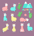 cute alpaca icons hand drawn vector image vector image