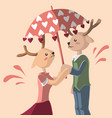 deer is umbrella for other deer with love vector image vector image