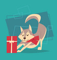 dog with gift box wear winter scarf happy new year vector image
