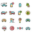 electric car icons set colored with thin line vector image