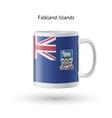 Falkland Islands flag souvenir mug on white vector image vector image