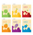 flat juice box set vector image vector image