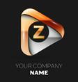golden letter z logo in golden-silver triangle vector image vector image