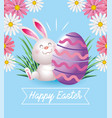 happy easter rabbit with egg decoration vector image vector image
