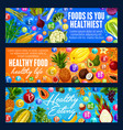 healthy eating banners fruits and grocery veggies vector image