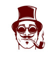 hipster with mustache smoking pipe stylish vector image vector image