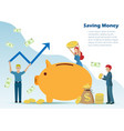 man and woman put gold coins and bank notes in pig vector image