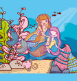 mermaids swimming undersea vector image vector image