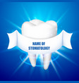 name of stomatology tooth on a blue background vector image vector image