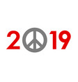 new year 2019 concept - peace sign vector image vector image