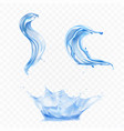 pure water splashes and swirls realistic vector image