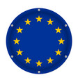 round metallic flag of european union with screws vector image