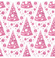 seamless pattern with stylized christmas vector image vector image