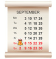september 1 day of knowledge calendar and bell vector image vector image