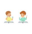 set cute happy boys brushing teeth daily vector image vector image