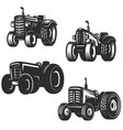 set of retro tractor icons design elements for vector image vector image