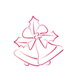 Sketch composition two Christmas bells with holly vector image