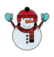 snowman with winter hat vector image vector image