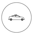taxi black icon in circle outline vector image vector image