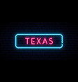 texas neon sign bright light signboard banner vector image vector image