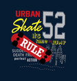 urban skate t shirt design vector image vector image