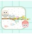 couple of cute owls and birds sitting on branch vector image
