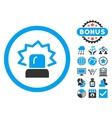 Alarm Flat Icon with Bonus vector image