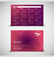 2020 pocket calendar and business card vector image vector image