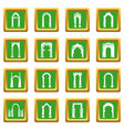 arch types icons set green square vector image vector image