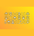 banner with robot icons on yellow vector image vector image