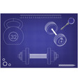 barbell and dumbbell on a blue vector image vector image