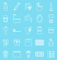 Bathroom line icons on light blue background vector image