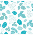 blue leaves seamless pattern vector image vector image