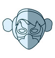blue silhouette with face of woman superhero with vector image