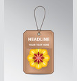 bronze tag with spring flower vector image vector image