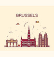 brussels skyline belgium linear style vector image vector image