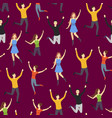 cartoon characters group people jumping vector image vector image