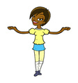comic cartoon woman making open arm gesture vector image vector image