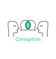 corruption between two thin line person vector image
