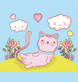 cute cat with kawaii clouds and flowers vector image vector image