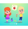 Cute girls with apples Back to school vector image