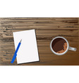 document with a fountain pen and a mug of coffee vector image vector image