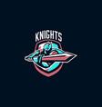 emblem a knight waving a sword paladin and vector image vector image