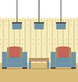 Empty Two Sofas With Ceiling Lamps vector image