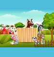 farm animals with a blank sign wood vector image