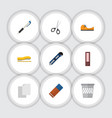 flat icon equipment set of rubber sticky sheets vector image vector image