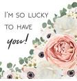 floral design card white rose flower pink vector image vector image