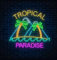 glowing neon summer sign with two palms island vector image vector image
