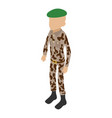 green beret icon isometric 3d style vector image vector image