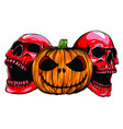 halloween monsters skull pupmkin isolation vector image